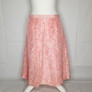 Banana Republic 100% Silk Pink Floral Skirt Sz 10